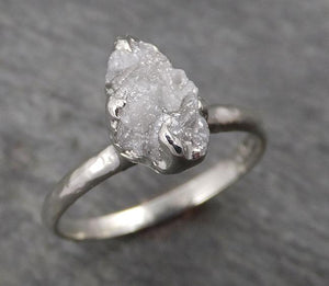 Rough Diamond Engagement Ring Raw 14k White Gold Ring Wedding Diamond Solitaire Rough Diamond Ring byAngeline 1768
