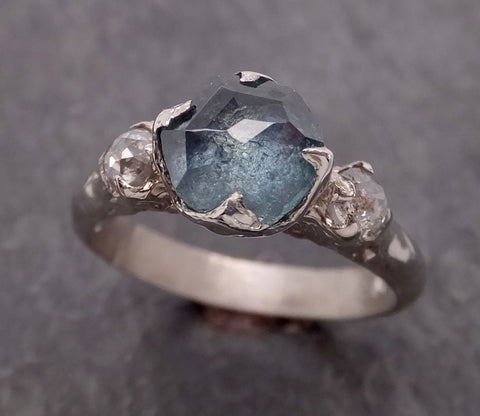Partially faceted blue Montana Sapphire and fancy Diamonds 14k White Gold Engagement Wedding Ring Custom Gemstone Ring Multi stone Ring 2112