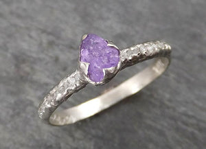 Raw Sapphire Diamond 14k White Gold Engagement Ring Wedding Ring Custom One Of a Kind purple Gemstone Ring Multi stone 1764