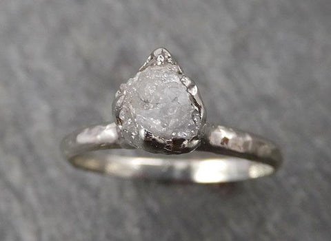 Rough Diamond Engagement Ring Raw 14k White Gold Ring Wedding Diamond Solitaire Rough Diamond Ring byAngeline 1769
