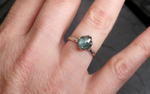 Partially Faceted Montana Sapphire Solitaire 14k white Gold Engagement Ring Wedding Ring Custom One Of a Kind Gemstone Ring 2114