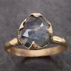 Fancy cut Montana blue Sapphire 14k Yellow gold Solitaire Ring Gold Gemstone Engagement Ring 2121
