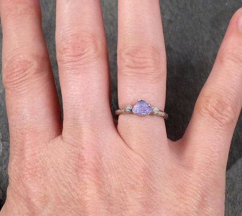 Raw Sapphire Dainty Diamond White Gold Engagement Ring Multi stone Wedding Ring Custom One Of a Kind Violet Gemstone Ring Three stone 1766