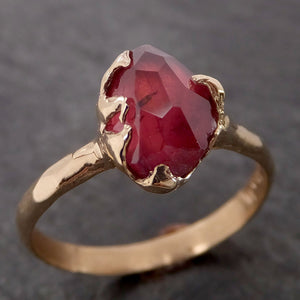 Partially Faceted Ruby red Sapphire Solitaire 14k yellow gold Engagement Ring Wedding Ring Custom One Of a Kind Gemstone Ring 2122