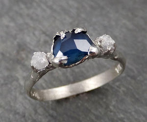 Partially faceted Dainty Sapphire Diamond 14k White Gold Engagement Ring Wedding Ring Custom One Of a Kind blue Gemstone Ring Multi stone Ring 1765