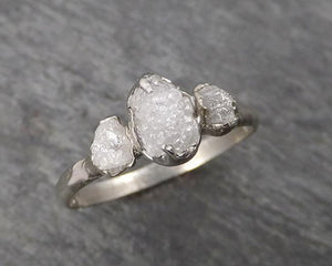Raw Rough Diamond Engagement Stacking ring Multi stone Wedding anniversary White Gold 14k Rustic byAngeline 1770