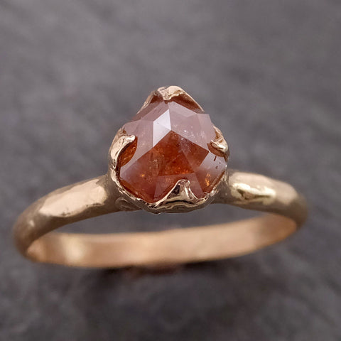 Fancy cut orange Diamond Solitaire Engagement 14k Gold Wedding Ring byAngeline 2123