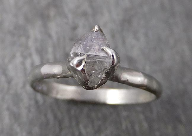 Natural uncut octahedral salt and pepper Diamond Solitaire Engagement 14k White Gold Wedding Ring byAngeline 1774