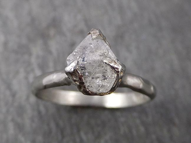 Natural uncut octahedral Salt and Pepper Diamond Solitaire Engagement 14k White Gold Wedding Ring byAngeline 1775