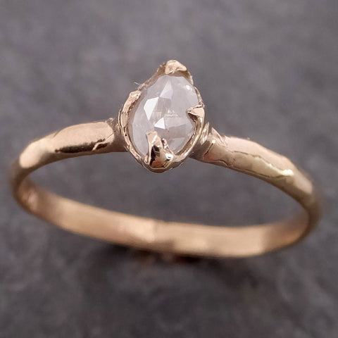 Fancy cut Dainty white Diamond Solitaire Engagement 14k yellow Gold Wedding Ring byAngeline 2125