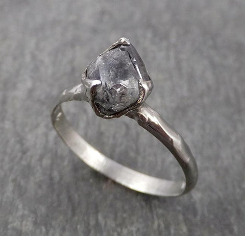 Natural uncut octahedral Salt and Pepper Diamond Solitaire Engagement 14k White Gold Wedding Ring byAngeline 1776