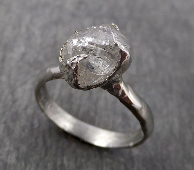 Natural uncut octahedral Salt and Pepper Diamond Solitaire Engagement 14k White Gold Wedding Ring byAngeline 1777