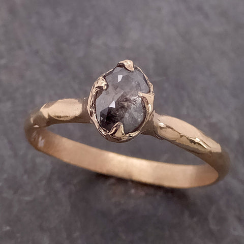 Fancy cut salt and pepper Diamond Solitaire Engagement 14k yellow Gold Wedding Ring byAngeline 2127