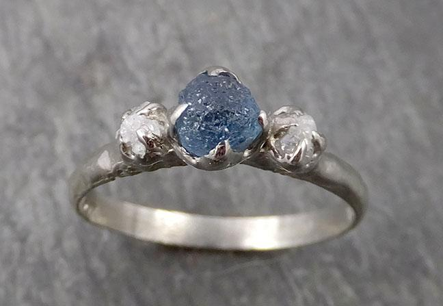 Raw Montana Sapphire Diamond White Gold Engagement Ring Wedding Ring Custom One Of a Kind Gemstone Multi stone Ring C1772