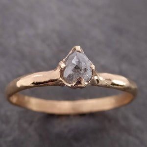 Fancy cut Dainty Salt and Pepper Diamond Solitaire Engagement 14k yellow Gold Wedding Ring byAngeline 2126