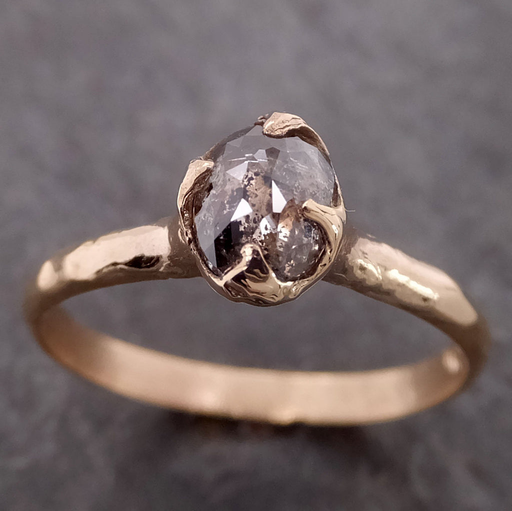 Fancy cut salt and pepper Diamond Solitaire Engagement 14k yellow Gold Wedding Ring byAngeline 2128