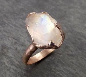 Partially Faceted Moonstone 14k Rose Gold Ring Gemstone Solitaire recycled statement cocktail statement 1781