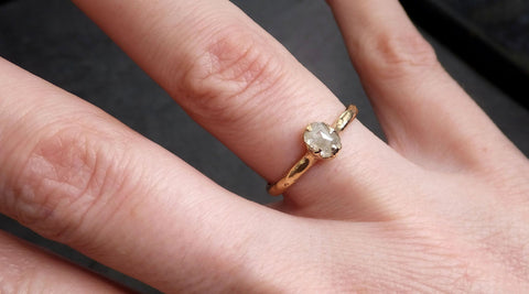 Fancy cut white Diamond Solitaire Engagement yellow Gold Wedding Ring byAngeline 2119