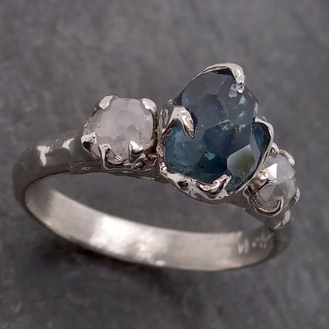 Partially faceted blue Montana Sapphire and fancy Diamonds 18k White Gold Engagement Wedding Ring Custom Gemstone Ring Multi stone Ring 2133
