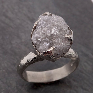 Raw White Diamond Solitaire Engagement Ring 18k White Gold Stacking Rough Diamond byAngeline 2131