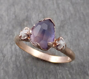 Sapphire Partially Faceted Multi stone Rough Diamond 14k rose Gold Engagement Ring Wedding Ring Custom One Of a Kind Gemstone Ring 1784