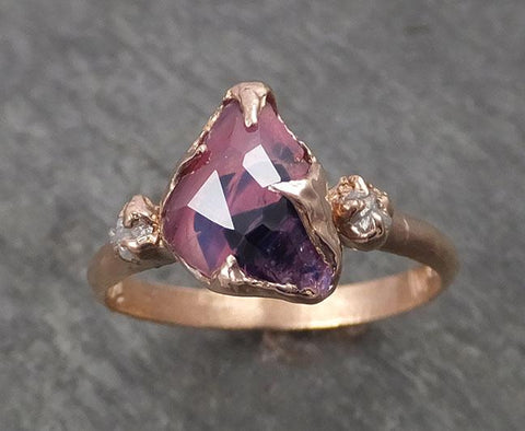 Sapphire Partially Faceted Raw Multi stone Rough Diamond 14k rose Gold Engagement Ring Wedding Ring Custom One Of a Kind Gemstone Ring 1785