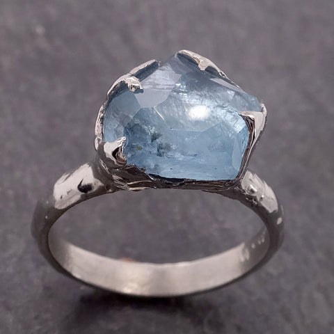 Partially Faceted Aquamarine White 18k Gold Solitaire Ring Statement Wedding Ring One Of a Kind Gemstone Ring Bespoke 2130