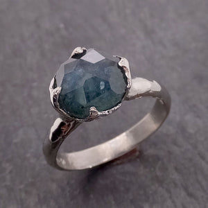 Partially Faceted Montana Sapphire Solitaire 18k white Gold Engagement Ring Wedding Ring Custom One Of a Kind Gemstone Ring 2132