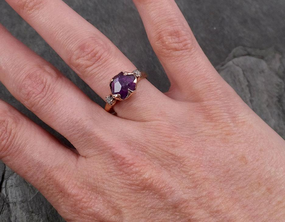 Sapphire Partially Faceted Raw Multi stone Rough Diamond 14k rose Gold Engagement Ring Wedding Ring Custom One Of a Kind Gemstone Ring 1786