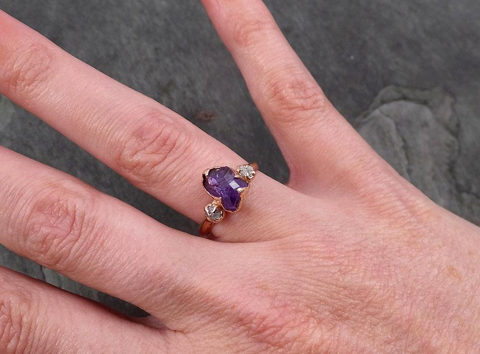 Sapphire Partially Faceted Multi stone Rough Diamond 14k rose Gold Engagement Ring Wedding Ring Custom One Of a Kind Gemstone Ring 1783