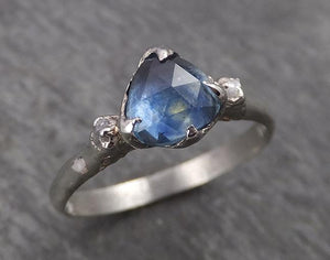 Fancy cut Montana blue Sapphire 18k White gold Solitaire Ring Gold Gemstone Engagement 1788