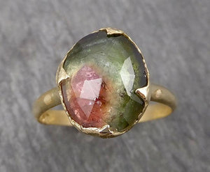 Fancy cut Watermelon Tourmaline Yellow Gold Ring Gemstone Solitaire recycled 18k statement cocktail statement 1789