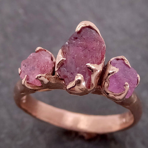 "Raw ""Pinks"" Sapphire Multi stone 14k rose Gold Engagement Ring Wedding Ring Custom One Of a Kind Gemstone Ring 2141"