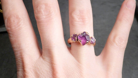 Partially faceted pinkish purple Sapphire and Raw side sapphires Multi stone 14k rose Gold Engagement Ring Wedding Ring Custom One Of a Kind Gemstone Ring 2142