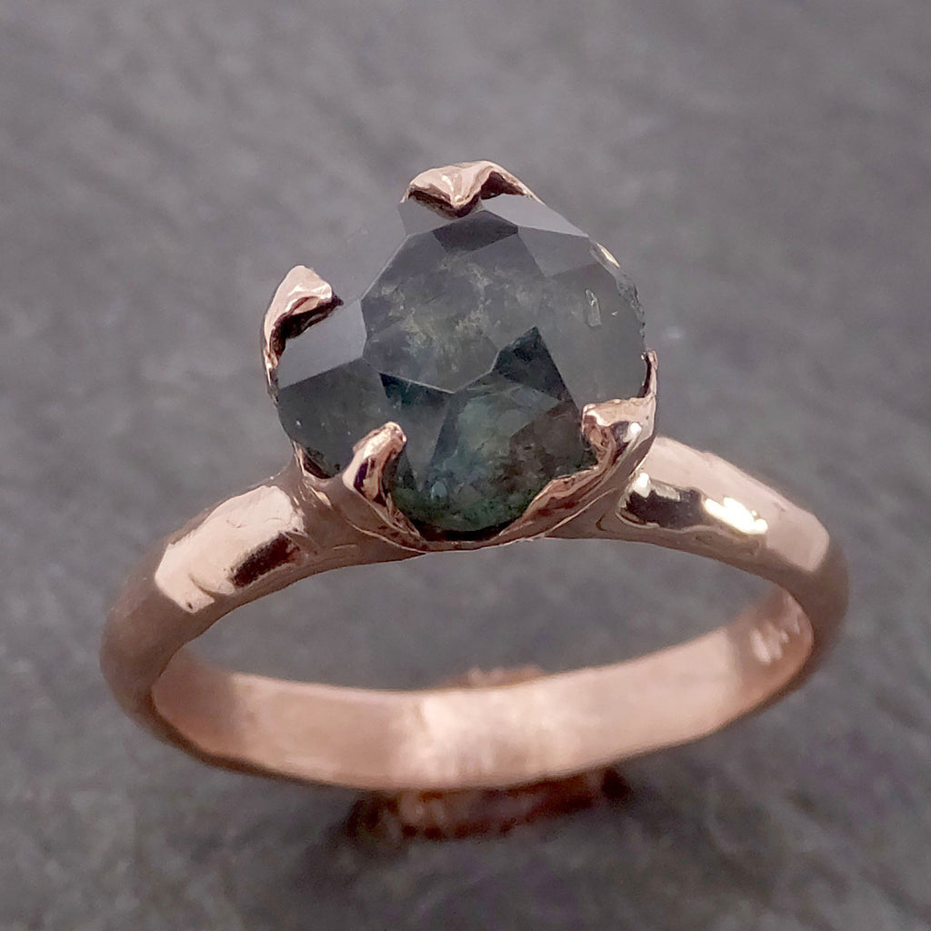 Montana Sapphire Partially Faceted Solitaire 14k Rose Gold Engagement Ring Wedding Ring Custom One Of a Kind blue Gemstone Ring C2138