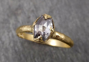 Fancy cut salt and pepper Diamond Solitaire Engagement 18k yellow Gold Wedding Ring Diamond Ring byAngeline 1796