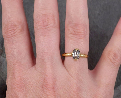 Fancy cut salt and pepper Diamond Solitaire Engagement 18k yellow Gold Wedding Ring Diamond Ring byAngeline 1050