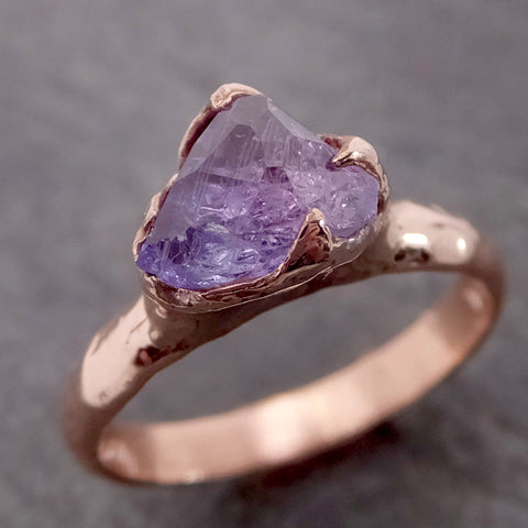 Partially Faceted Purple/Lavender Sapphire 14k rose Gold Engagement Ring Wedding Ring Custom One Of a Kind Gemstone Ring Solitaire 2143