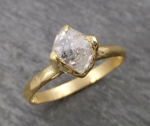 Natural uncut octahedral Salt and Pepper Diamond Solitaire Engagement 18k Yellow Gold Wedding Ring byAngeline 1791
