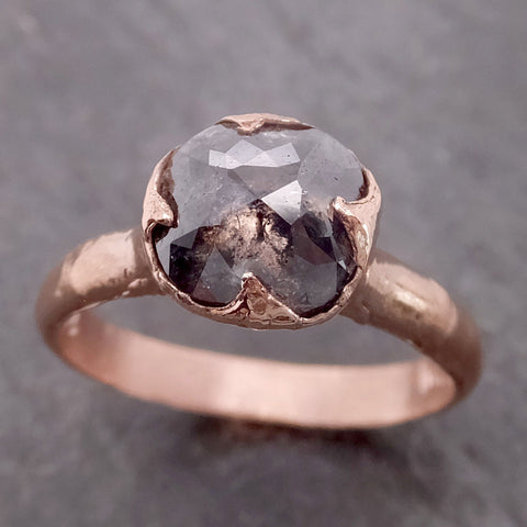 Fancy cut Salt and pepper Solitaire Diamond Engagement 14k Rose Gold Wedding Ring byAngeline 2145