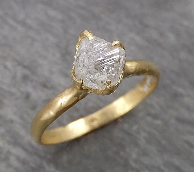 Natural uncut octahedral Salt and Pepper Diamond Solitaire Engagement 18k Yellow Gold Wedding Ring byAngeline 1792