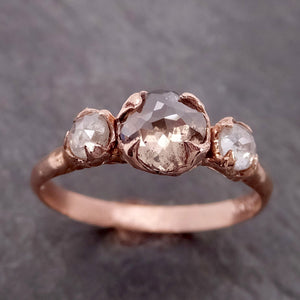 Champagne Fancy cut Diamond Engagement 14k Rose Gold Multi stone Wedding byAngeline 2144