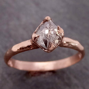 Fancy cut Salt and pepper Solitaire Diamond Engagement 14k Rose Gold Wedding Ring byAngeline 2146