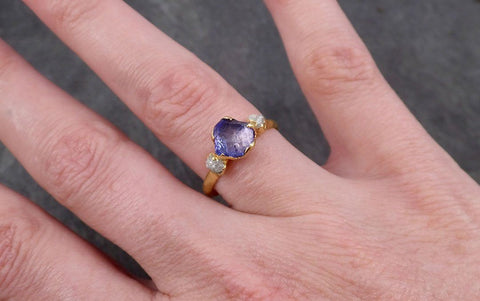 Partially faceted Tanzanite Crystal Gemstone diamond 18k Ring Multi stone Wedding Ring One Of a Kind Three stone Ring 1787