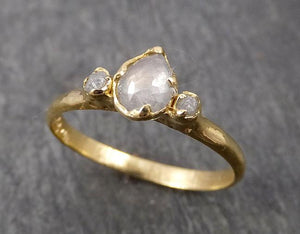 Fancy cut Dainty white Diamond Engagement 18k Yellow Gold Multi stone Wedding Ring Stacking Rough Diamond Ring byAngeline 1790