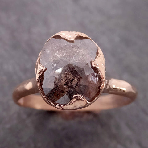 Fancy cut Salt and pepper Solitaire Diamond Engagement 14k Rose Gold Wedding Ring byAngeline 2139