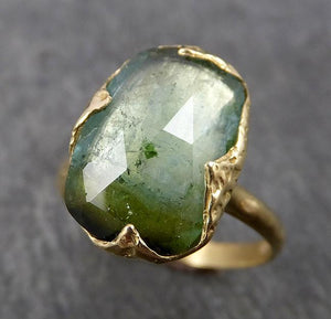 Fancy cut Green Tourmaline Yellow Gold Ring Gemstone Solitaire recycled 18k statement cocktail statement 1804