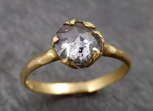 Fancy cut Salt and pepper Diamond Solitaire Engagement 18k yellow Gold Wedding Ring byAngeline 1808
