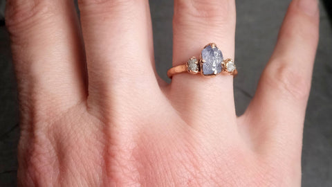 Raw blue Sapphire Diamond Rose Gold Engagement Ring Wedding Ring Custom One Of a Kind Gemstone Multi stone Ring 2147