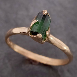 Raw Green Tourmaline yellow Gold Ring Rough Uncut Gemstone solitaire tourmaline recycled 14k cocktail statement byAngeline 2151